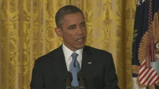 President Barack Obama briefing the media at the White House