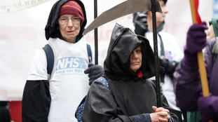 A protester dressed as the Grim reaper at the London march.