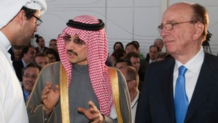 The Saudi billionaire with the chief executive of News Corporation Rupert Murdoch in 2011