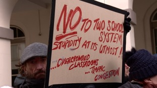 Around 100 people turned out to protest (4 February) a States decision to move to a '2-school model' of secondary education