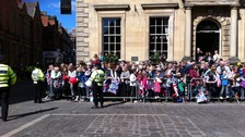 Crowds outside York's Mansion House