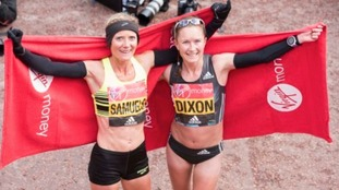 Sonia Samuels and Aly Dixon at the 2016 Virgin Money London Marathon