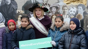 Historian Lucy Worsley with children at an exhibition in Trafalgar Square.