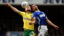 Norwich City's Harrison Reed and Ipswich Town's Tristan Nydam compete for the ball at Portman Road back in October.