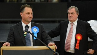 Lord Prescott stands next to the winning candidate Matthew Grove after November's results