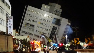 Hotel caves in after Taiwan hit by deadly earthquake