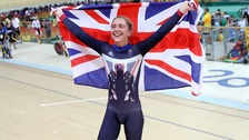 Laura Kenny celebrates winning gold at the 2016 Rio Olympics.