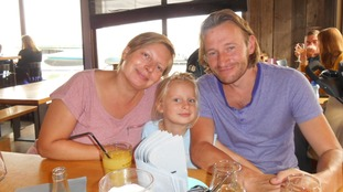 Dan Hallam with partner Ayesha Heaton and daughter Joy