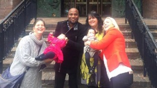 Pete and Tracy (C) with surrogates Kate (L) and Trisha (R)