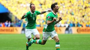 Hoolahan celebrates scoring for the Republic of Ireland against Sweden at Euro 2016.
