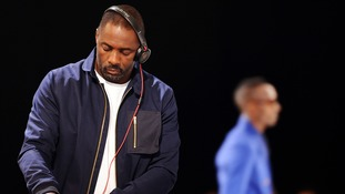 Idris Elba DJs at the Oliver Spencer fashion show