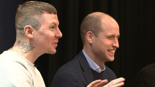 Prince William and Professor Green promote mental health campaign at London school