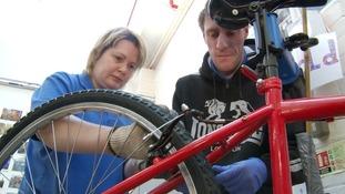 Repair work at TAG Bikes in Huntingdon