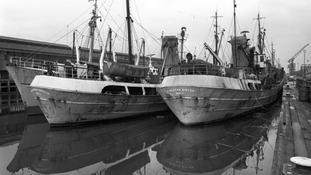 Trawlers moored in Hull's docks in 1968