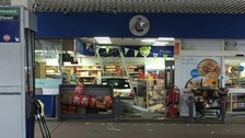 A car ended up in the middle of the shop at a petrol station in Hertfordshire.