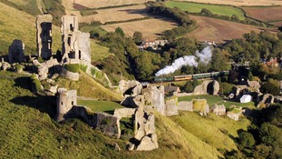 Corfe Castle, steam train running past
