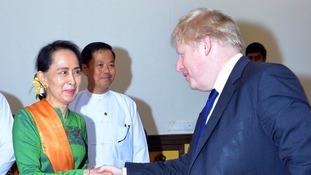 Boris Johnson met Aung San Suu Kyi on Sunday.