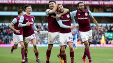 The Aston Villa players celebrate their second goal, scored by Conor Hourihane.