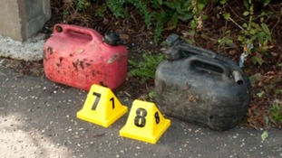 These petrol cans were found after the fire in Harlow