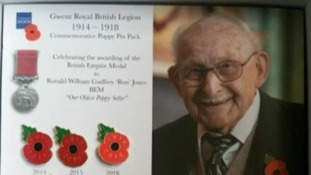 Poppy seller Ron Jones honoured with special pin