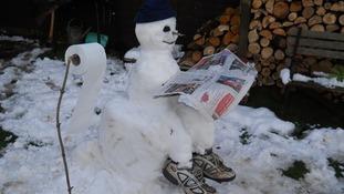 Some interesting poses for snowmen in Snettisham, Norfolk