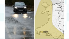Wet road and Met Office map