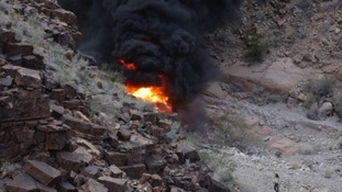 The group's helicopter crashed in the Grand Canyon.