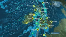 A cold start with rain and strong winds