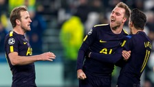 Spurs celebrate vs Juventus