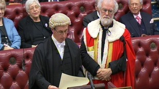 Former Archbishop of Canterbury Dr Rowan Williams in the House of Lords today.