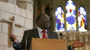 Morgan Tsvangirai reacts as he addresses the assembled congregation and Zimbabwean exiles at Southwark Cathedral in London in 2009.