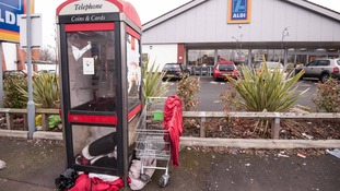The phone box is outside the Aldi in Bordesley Green