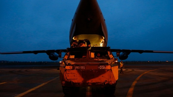 An RAF C-17 aircraft leaving northern France for Mali, yesterday.