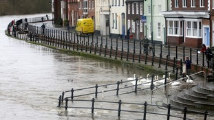 Flooding in the Worcestershire town of Bewdley as the level of the River Severn rises after recent heavy rainfall.