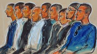 (L-R) Kamar Jamil, Akhtar Dogar, Anjum Dogar, Assad Hussain, Mohammed Karrar, Bassam Karrar, Mohammed Hussain, Zeeshan Ahmed and Bilal Ahmed