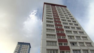 The cladding in the Mount Wise tower blocks failed safety tests last June.