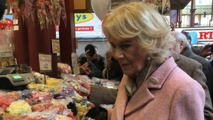Camilla, Duchess of Cornwall, visits Halifax market