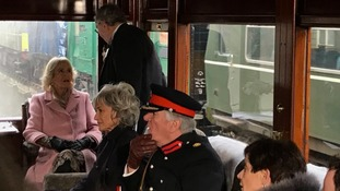 Camilla on the steam train from Haworth to Oxenhope