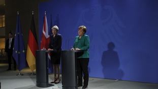 Merkel and Theresa May give joint press conference in Berlin.