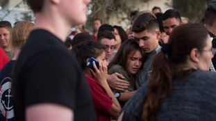Marjory Stonemason Douglas JROTC students mourn the loss of their friend, Alaina Petty, victim of the deadly Florida High School shooting.