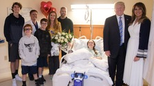 Trump visits Florida school shooting victims