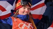 Izzy Atkin celebrates her bronze medal.