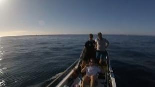 The team mid-way across the Atlantic.