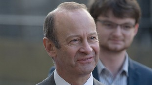 Henry Bolton arrives at the meeting in Birmingham.