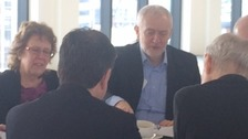 Jeremy Corbyn listening to plans to transform Leeds train station