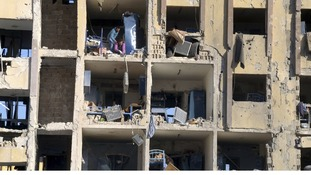 A view shows destruction after two explosions that rocked the University of Aleppo.