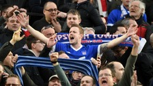 Ipswich Town fans celebrate their goal in the stands during the Sky Bet Championship match at Carrow Road, Norwich.