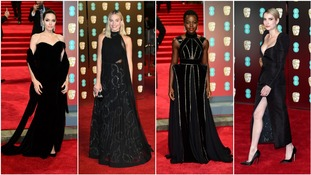 Stars turn out in black at politically-charged Baftas
