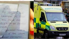 An angry note has been found by paramedics demanding that their ambulance be moved.