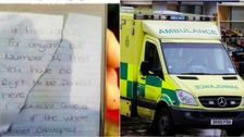 Woman charged after angry note left on ambulance